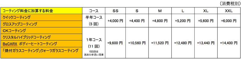 コーティングメンテナンスパック料金表